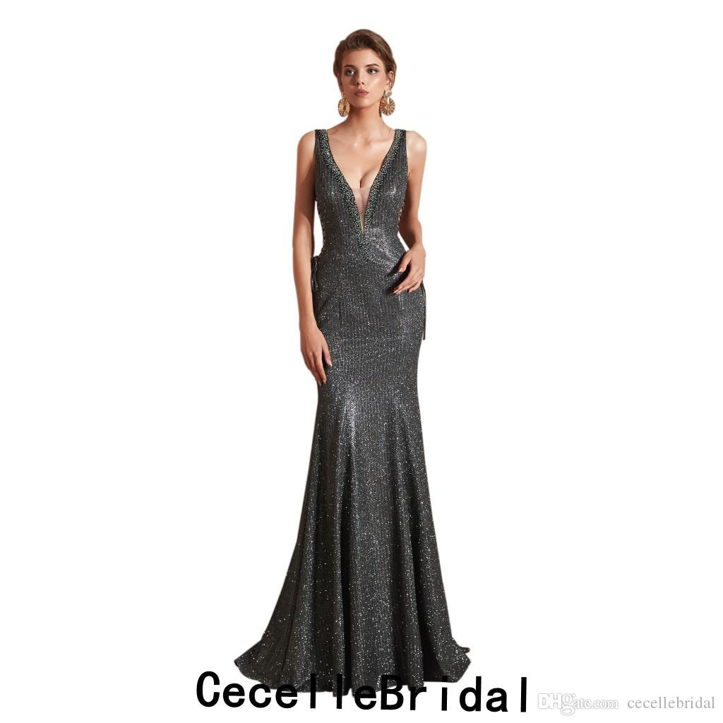 c6e6ce5764c 2019 New Dark Grey Sparkly Sexy Mermaid Long Evening Dress 2019 Sleeveless  Low V Neck Women Evening Party Dress Formal Night Wear