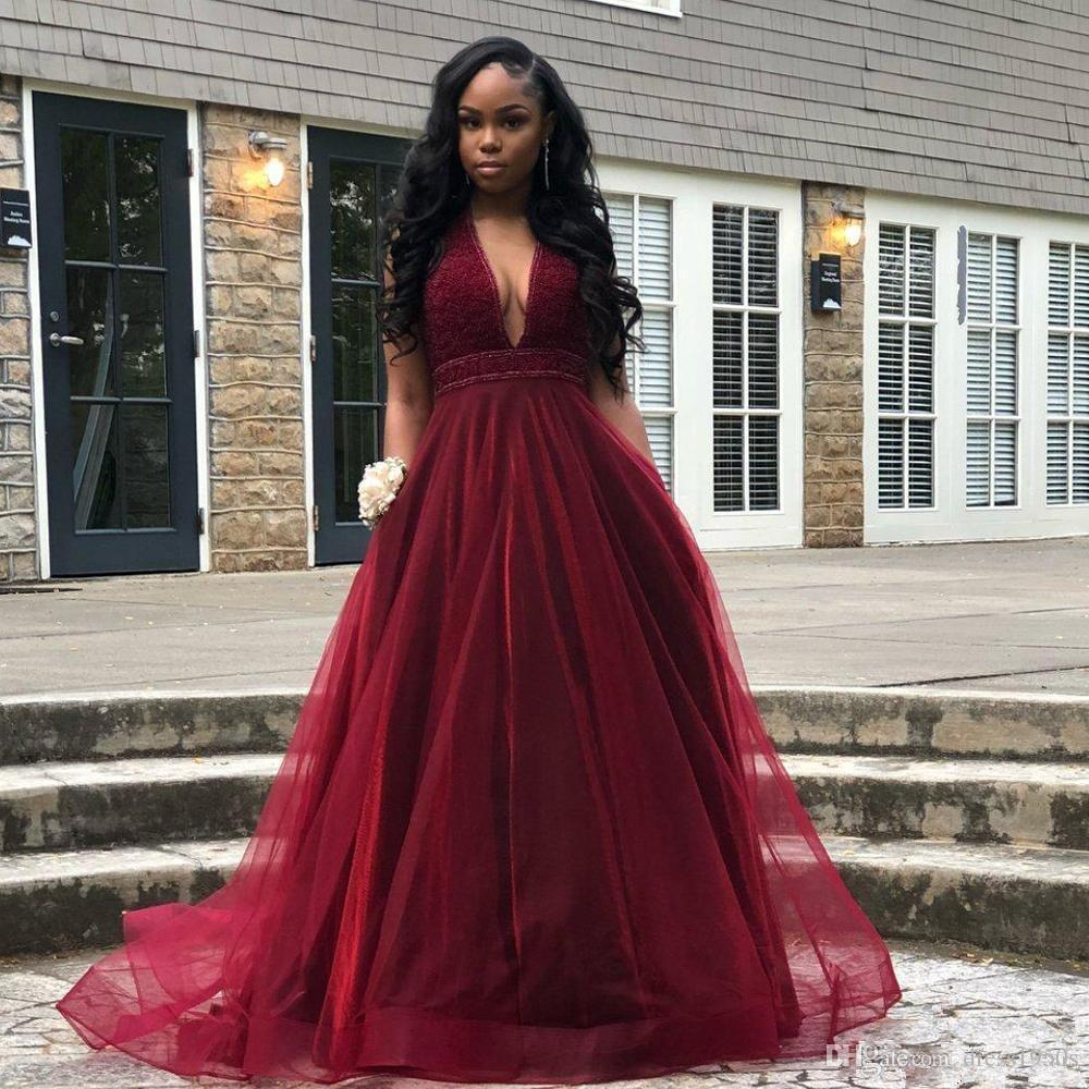 a42f3c12ce 2019 Burgundy A Line Prom Dresses Deep V Neck Beading Backless Tulle Formal  Gown Tiered Skirt Tulle Party Dress Hippie Prom Dresses Inexpensive Plus  Size ...