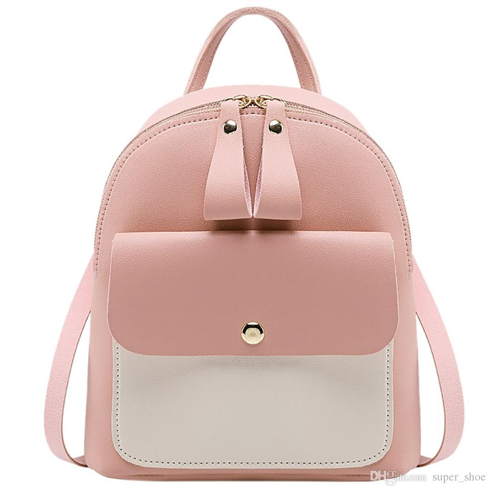 0398f13f5 2019 Fashion Women Pu Leather Backpacks Patchwork Zipper Teenager Travel Bag  Small Backpack Letter Purse Bag #Zer #33026 Leather Backpacks One Strap ...