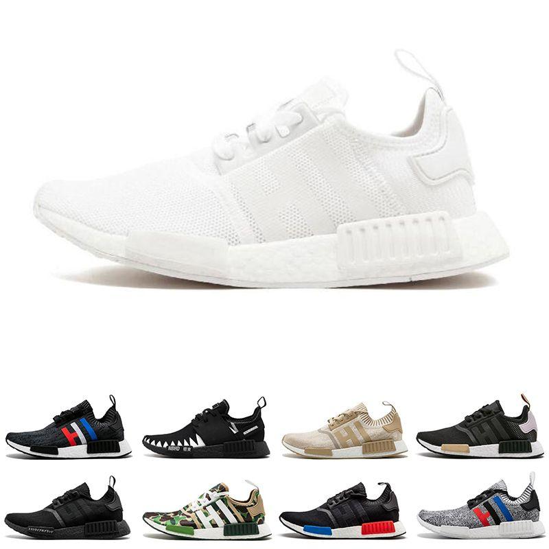 pick up 0946a ad58a Scarpe Bambini Adidas NMD R1 Real New R1 Mens Scarpe Da Corsa Triple Nero  Bianco Beige Bianco Blu NBHD OG Uomo Donna Runner Sport Sneakers 36 45 Scarpe  Da ...