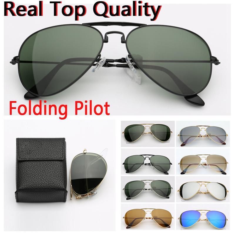 795e4be03596 Mens Sunglasses Folding 3479 Pilot Real UV400 Glass Lenses Des ...