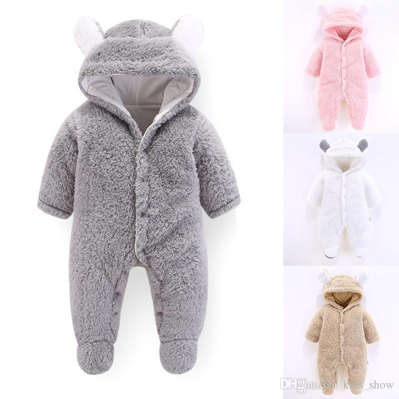 c2b9171c16b62 2019 Soft Baby Bear Rompers Newborn Clothes Girl Boy Coral Fleece Warm  Hooded Plush Jumpsuit Animal Overall From Kids_show, $6.34   DHgate.Com