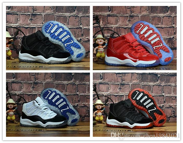 Bred XI 11S Kids Basketball Shoes Gym Red Infant   Children Toddler ... 4f6d67197