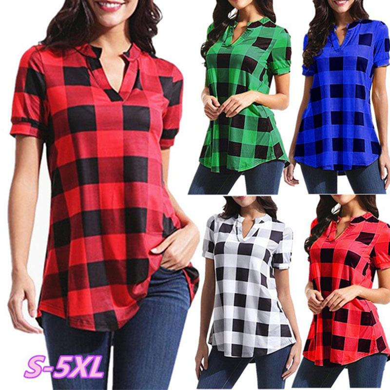78f0388649b8 2019 Women Plaid Blouse Short Sleeve V Neck T Shirt Loose Grid T Shirt Tops  Oversized Pullover Shirts Casual Ladies Blouses Tees Summer Pullover From  ...