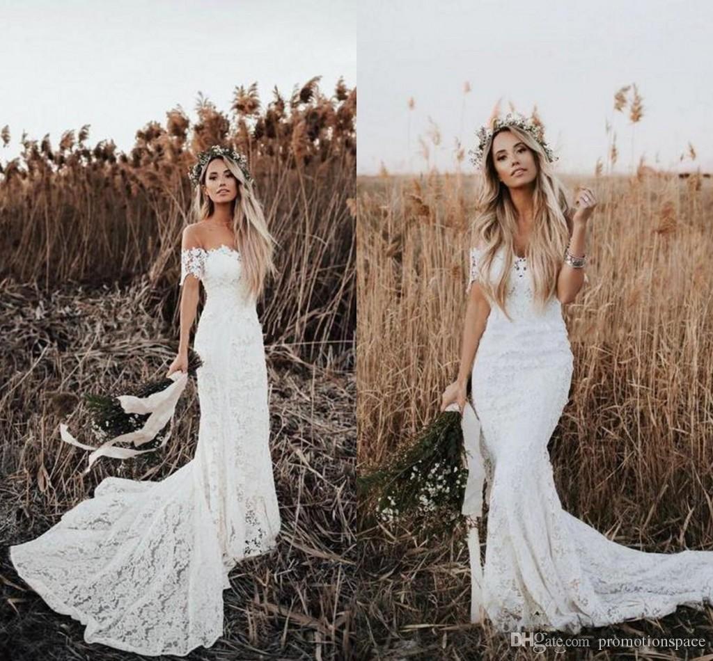 05595dc9e59 Elegant Boho Lace Mermaid Wedding Dresses Off The Shoulder Short Sleeves Bridal  Dresses Beach Wedding Gowns Sweep Train Wedding Gowns Wedding Dress With ...