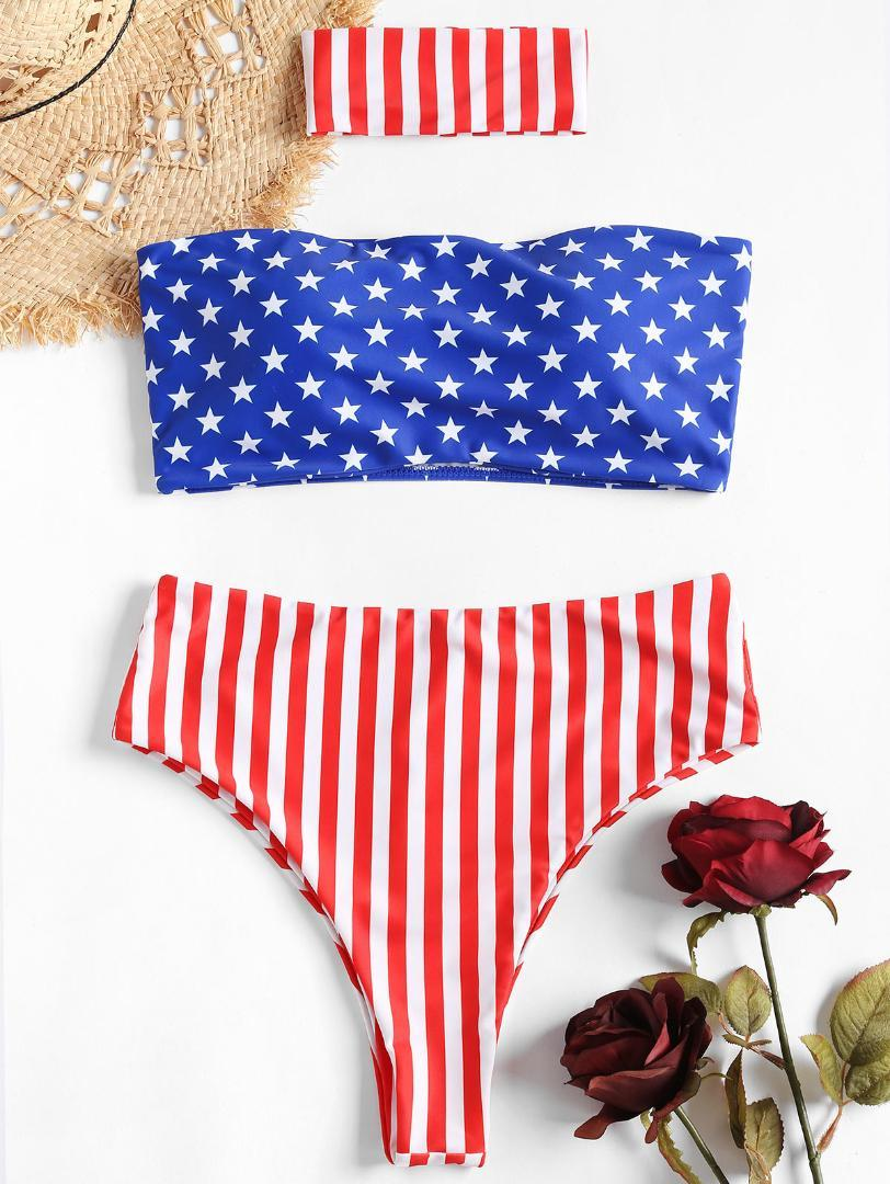 153c37f54a2a6 2019 ZAFUL American Flag High Waist Bikini With Choker Bandeau Bikini Set  Swimsuit Padded Bathing Suit High Cut Striped Bikinis 2019 From Litchiguo,  ...