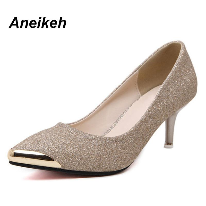 b3155c2eef9 Dress Shoes Women Pumps High Heels 2019 Metal Head Pointed Stiletto Work  Sexy Sequins Zapatos Mujer Black Gold Silver B518 15  Loafers For Men Red  Shoes ...