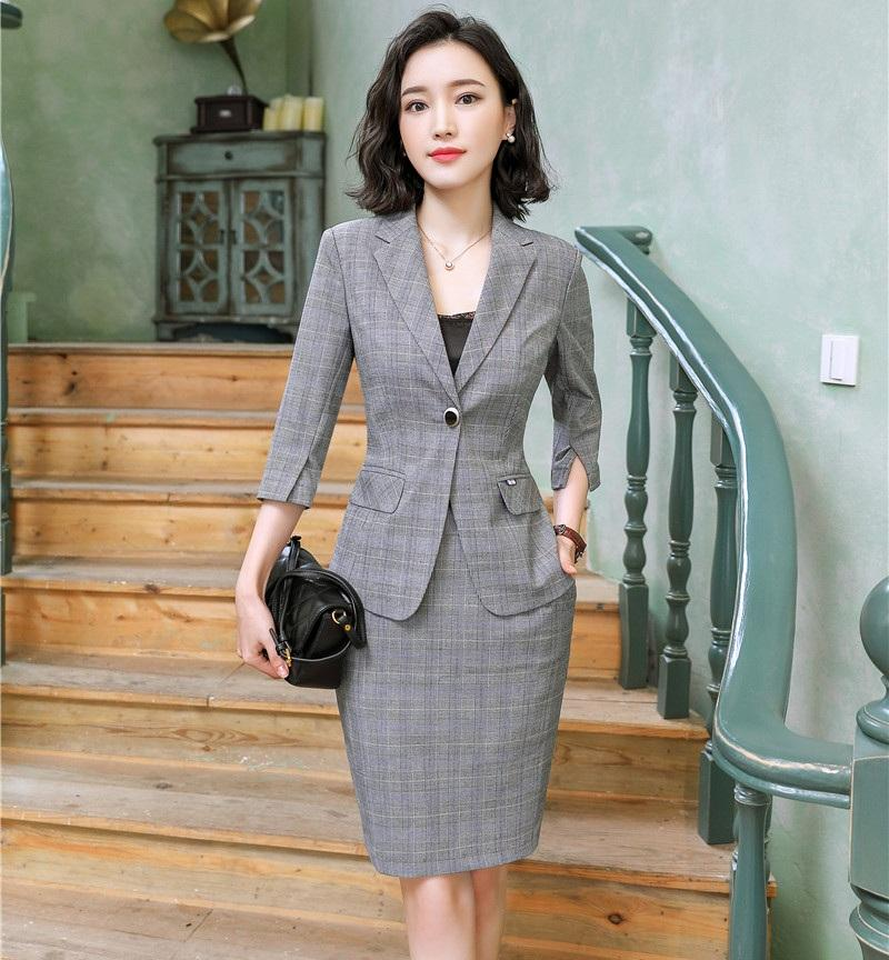 Formal Grey Blazer Women Business Suits with Skirt and Jacket Sets Half Sleeve Office Ladies Work Wear Clothes