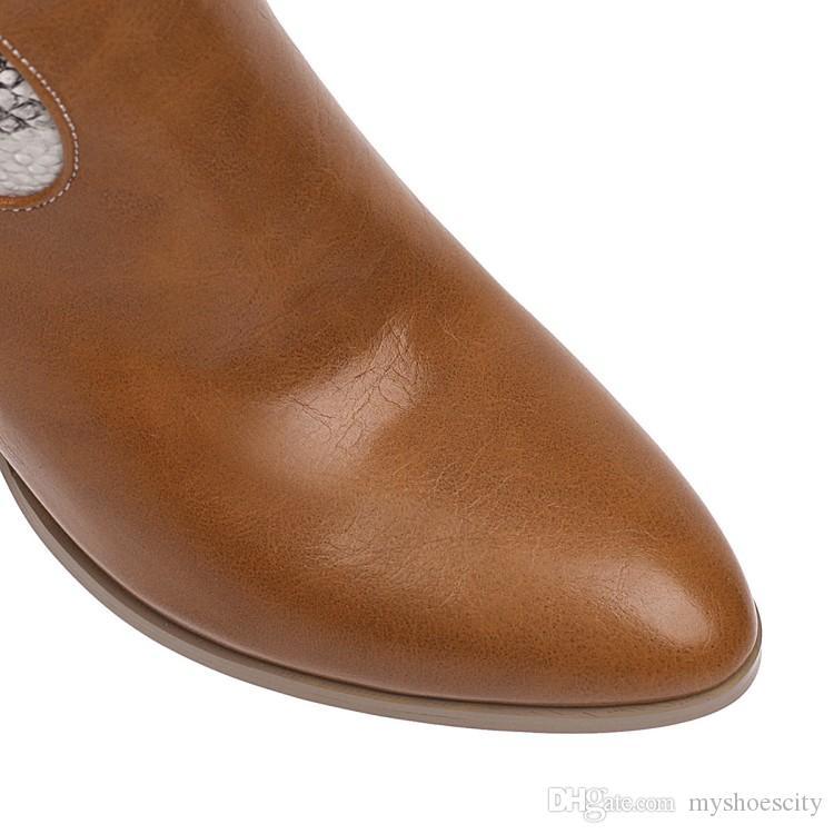 artı kutucuğu ile boyut 34-46 47 şık siyah kahverengi baskılı tıknaz topuk kovboy çizmeleri lüks kadın tasarımcı çizmeler