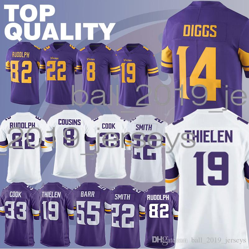 separation shoes f06fc d3640 Vikings jerseys Stefon 14 Diggs Adam 19 Thielen Harrison 22 Smith Dalvin 33  Cook men jersey