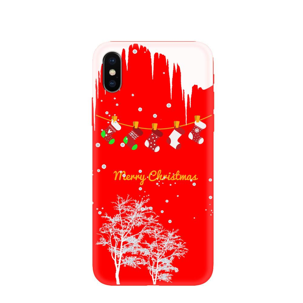 New Christmas mobile phone case iPhone XS Max cartoon personality protective case Santa Claus elk Christmas tree