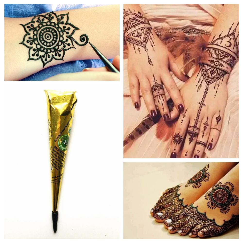 1PC Black Mehndi Henna Tattoo Paste Indian Waterproof Henna Tattoo Cones  Black Ink Color DIY Body Art Cream For Stencil Paint