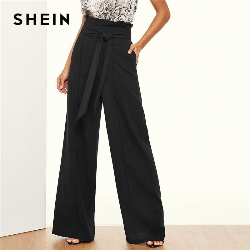 7bb6dff8e5 2019 SHEIN Paper Bag Waist Belted Wide Leg Pants Women Elegant OL ...