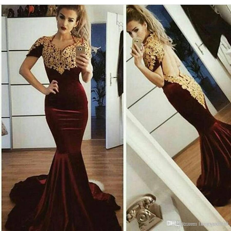 Fengyudress Lace Appliques Burgundy Mermaid Prom Dress Short Sleeve Backless Evening Gowns Custom Plus Size Special Occasion Dress
