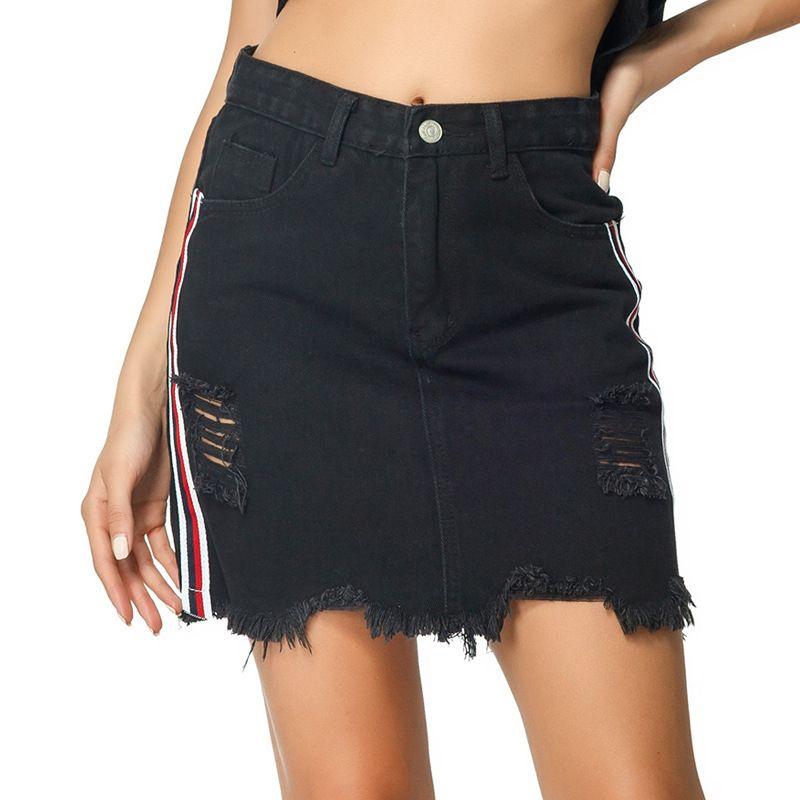 e22ac821463fb NORMOV jupe en jean noir sexy mini jupe creuse de grande taille 2019, mode  impression mince, paquet, hanche