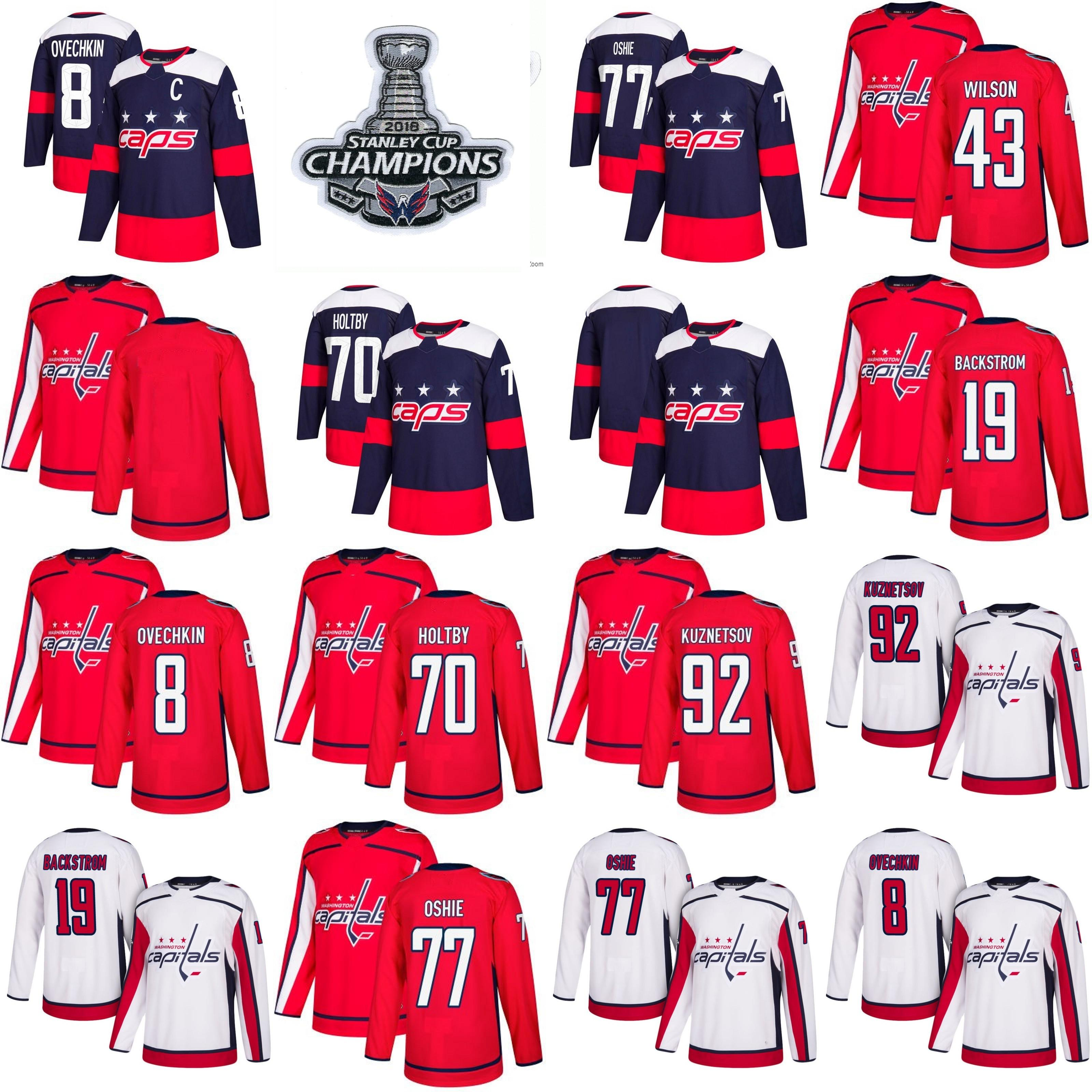 new product b4f34 a8aab 2018 Stanley Cup Champions Youth women Capitals 8 Alex Ovechkin 77 TJ Oshie  70 Braden Holtby 92 Kuznetsov 43 Tom Wilson Backstrom Jerseys