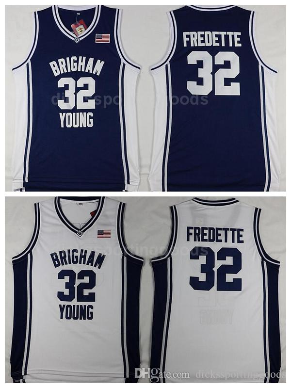 cf4a27c11 2019 NCAA College Brigham Young Cougars Jerseys Cheap Men Basketball 32  Jimmer Fredette Jersey Breathable Navy Blue White High Quality From ...