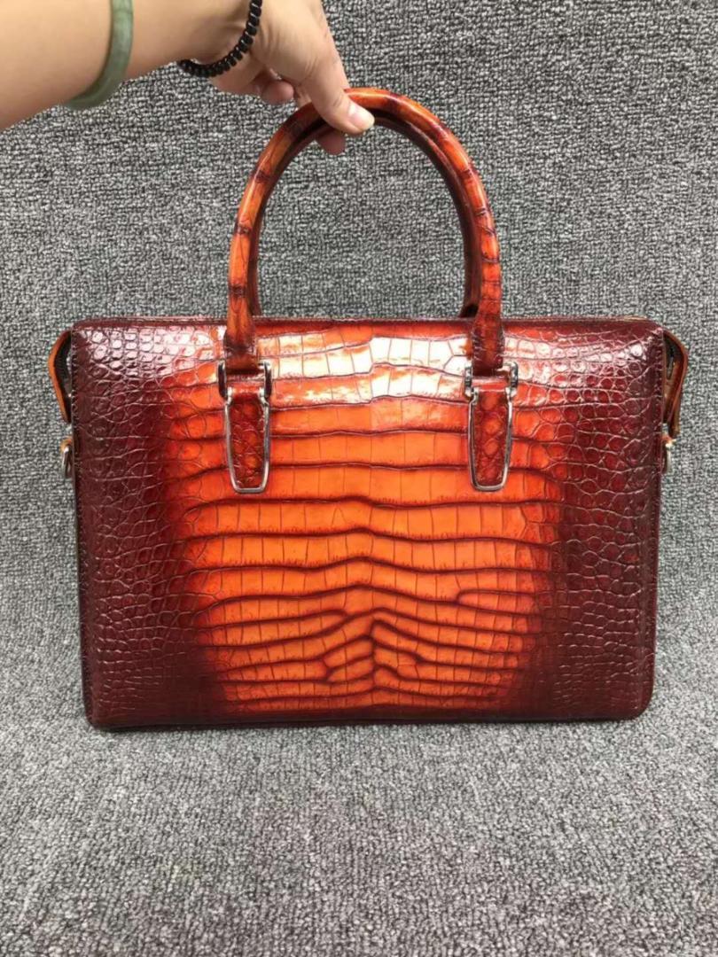 25927be9b 100% genuine real crocodile leather belly skin men business bag briefcase  zipper with strap 2 colors orange+brown crocodile skin