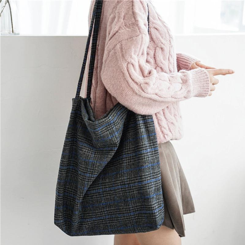 1d6f86bf187c 2019 Fashion 2018 Autumn   Winter Women Woolen Canvas Shoulder Bag Ladies  Vintage Plaid Handbag Totes Female Cotton Wool Cloth Shopping Bags Ladies  Purse ...