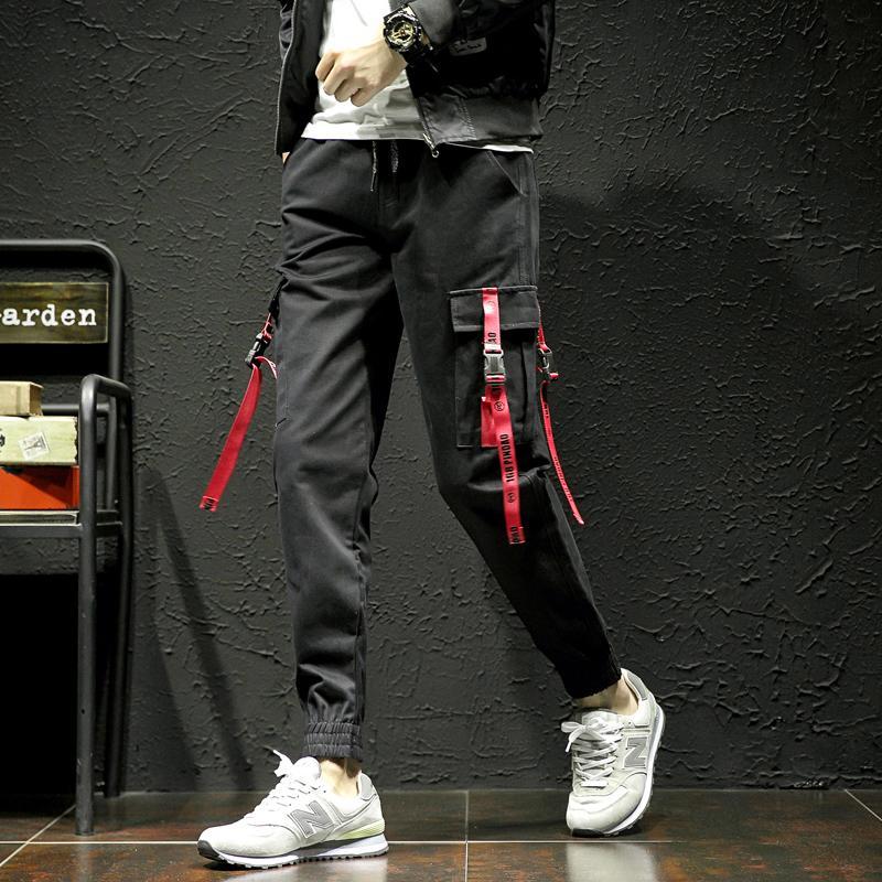 Compre 2019 Nuevos Hombres De Moda Pantalones De Bolsillo Hombres Cool  HIPHOP Joggers Pantalones Tallas Grandes Pantalones Hombres Cinturón Mujer  Streetwear ... b77da3b9d06