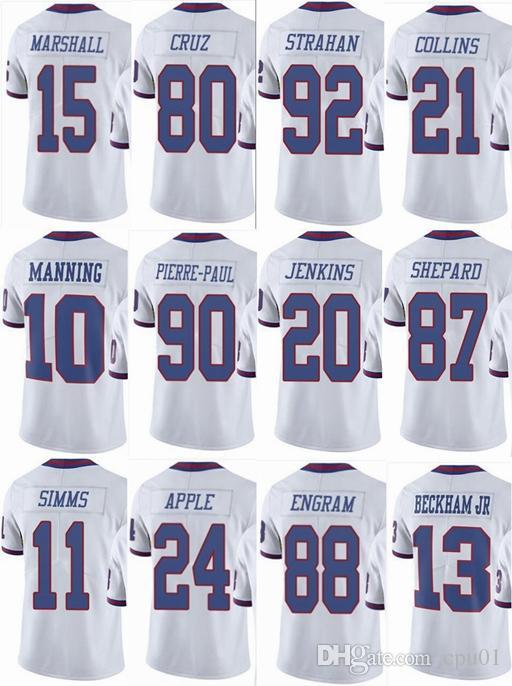 newest collection 13a23 6010e GIANTS NEW YORK #13 Odell Beckham Jr #21 Landon Collins 10 Eli Manning 15  Brandon Marshall Men Women Youth Color Rush Elite Football Jerseys