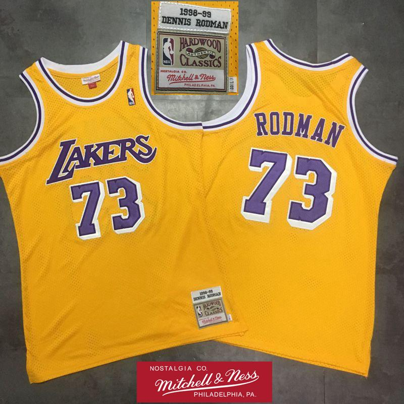 lowest price f0088 3ccb2 Mens 91 Dennis Rodman Authentic Swingman Jersey Retro Los Angeles 1998-99  Laker Mitchell & Ness Hardwoods Classics HWC Basketball Jersey