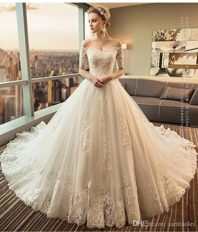 9d69cdda080 2019 New Chapel Luxury Big Trailing Wedding Dress Bateau 1 2 Sleeve Wedding  Dress Noble Lace Up Bridal Dress Lace Ball Gowns Wedding Dresses Plus Size  Ball ...