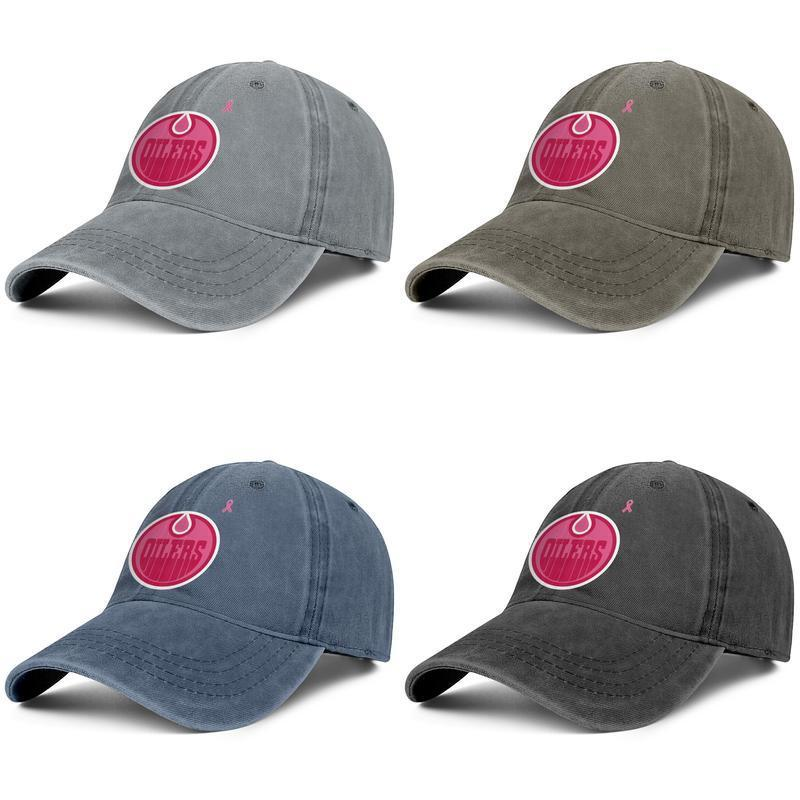 Edmonton Oilers pink breast cancer Unisex grey Women's Street Dancing Vintage for Mens' Casual Hats Funky Cotton font series orange blue