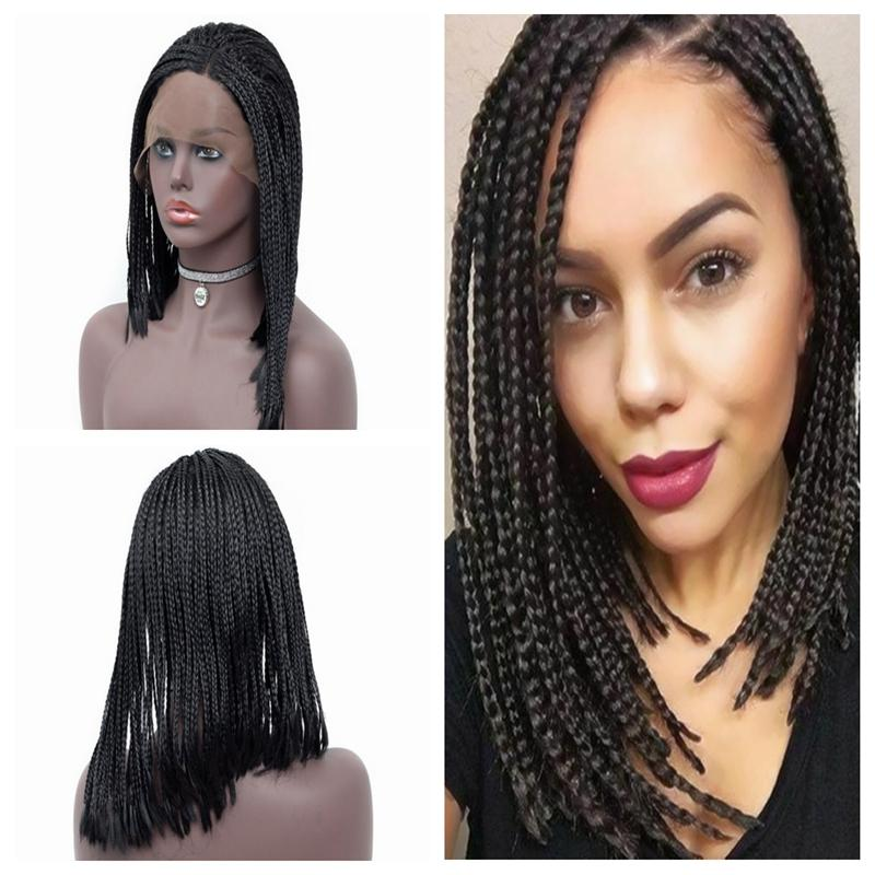 Fashion Afro Women 14-26inch Synthetic Braided Lace Front Wig Short Black Box Braids Heat Resistant Full Density Cheap Wigs with Baby hair
