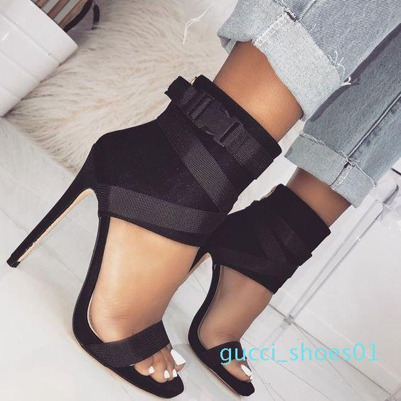 New arrival hot sale explosion women's high heels fish mouth cross belt fine super high heel sexy sandals Red Womens Dress Shoes g01