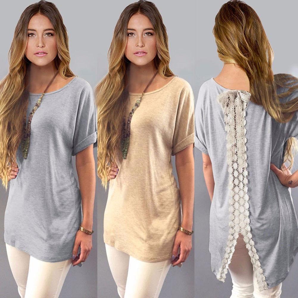 fcc52c88 Wholesale Hot Sale Summer Ladies Womens Casual Shirt Plain Simple Design  Short Sleeve Lace Back Loose T Shirt Tees Slim Tops Plus Size CL415 Tee  Shirt Site ...