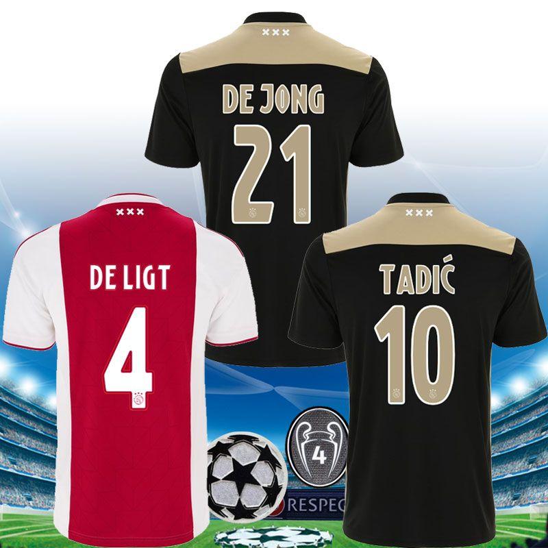 ccfd35029 2019 2018 2019 Ajax Champions League DE LIGT Home Soccer Jersey TADIC NERES  HUNTELAAR DE JONG Ajax 18 19 Football Shirt Top Quality From Usoccerjersey
