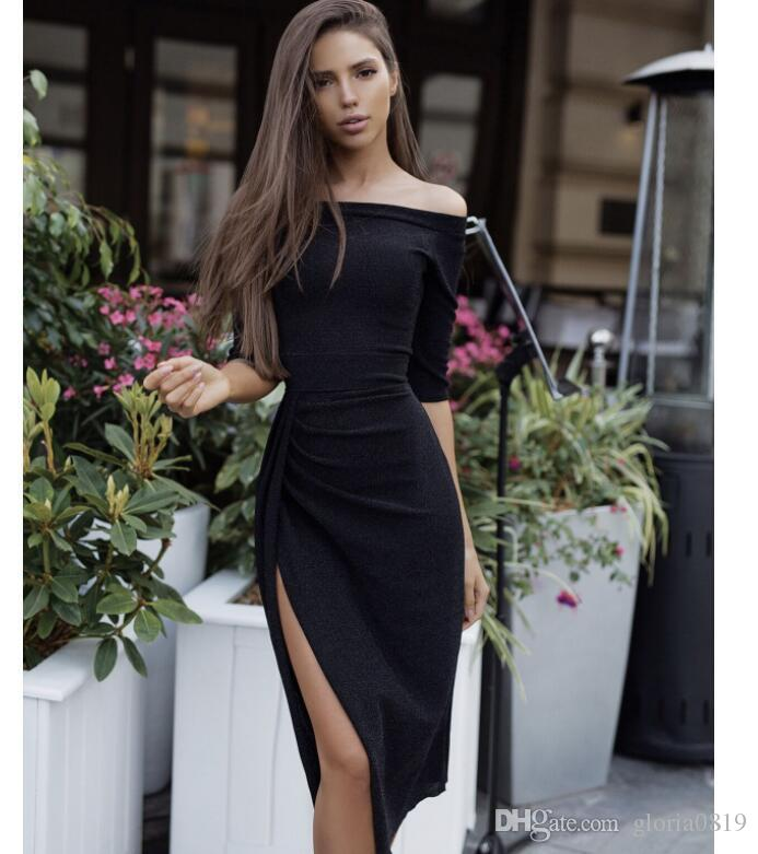 0996e167e072 2019 Sexy Women Dresses Fitted Off Shoulder Half Sleeves Side Split Pink  Black Silver Knee Length Bodycon Dress For Prom Party Evening From  Gloria0819