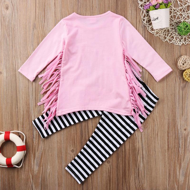 Tout-petit Enfant Bébé Fille Tassel Vêtements Hauts Robe Pantalon rayé Legging Outfit Set / BL2