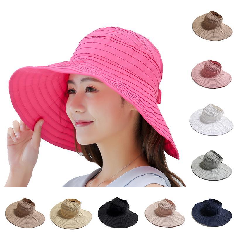 37e469407 Women s Summer Empty Top Hat Visors Cap Foldable Wide Large Brim Sun Hat  Beach Hats Adult Child Straw Wholesale Chapeau