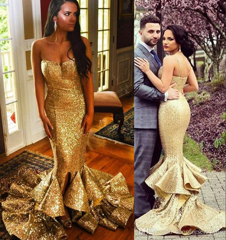 Sparkly Gold Sequined Mermaid Prom Dresses 2019 Plus Size High Split  Ruffles Skirt Black Girls 2K19 Formal Evening Party Gowns Cheap Prom Dresses  Uk Cheap ... fcc7f78fa96e
