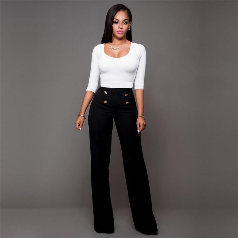 2018 Women Casual Summer Palazzo High Waist Career Wide Leg Trousers Loose Pants
