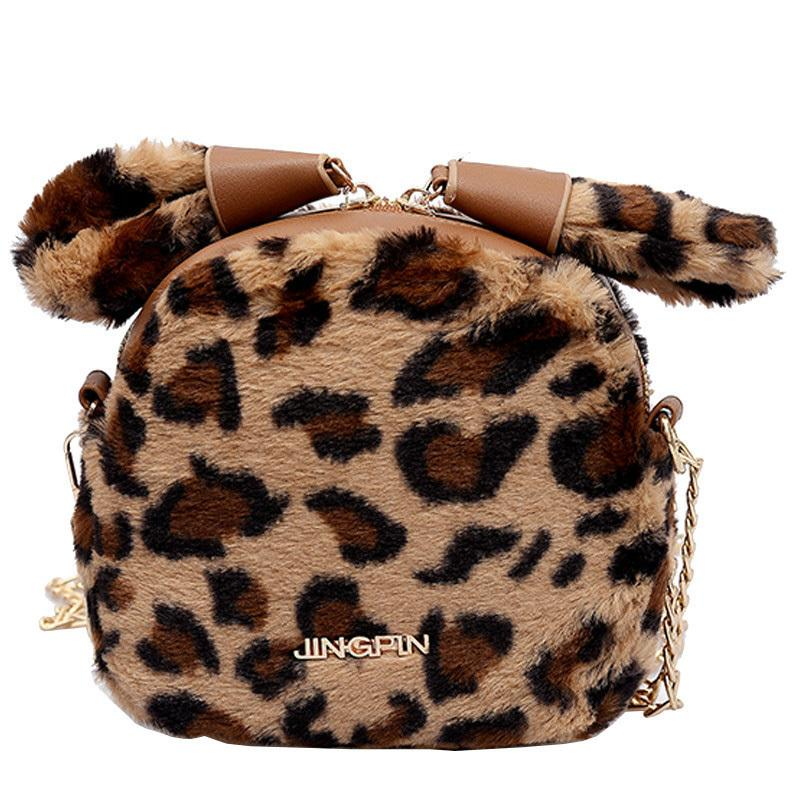 2019 Winter Fashion New Leopard Female Bag Quality Soft Plush Women S  Designer Handbag Cute Ear Chain Shoulder Messenger Bags Mens Bags Messenger  Bags For ... 0bca8394078f1