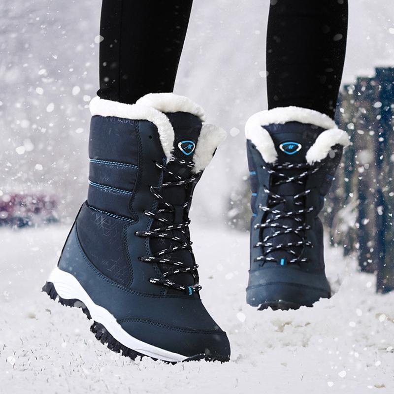 1cdbe354e Compre 2019 Botas De Mujer Zapatos De Invierno Impermeables Mujer Botas De  Nieve Plataforma Mantener Cálidas Botas De Invierno De Tobillo Con Tacones  De ...