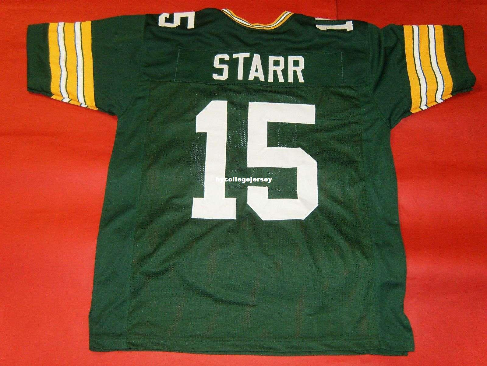 sports shoes 04890 21d0a Cheap retro #15 BART STARR CUSTOM GREEN MITCHELL & NESS Jersey Mens  Stitching High-end Size S-5XL Football Jerseys College NCAA