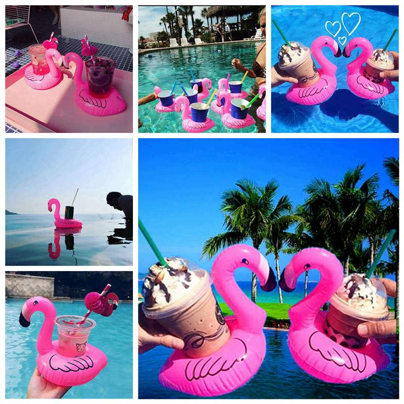 Inflatable Flamingo Drinks Cup Holder Pool Floats Bar Coasters Floatation Devices Children Bath Toy small size Hot Sale 1200pcs H0528