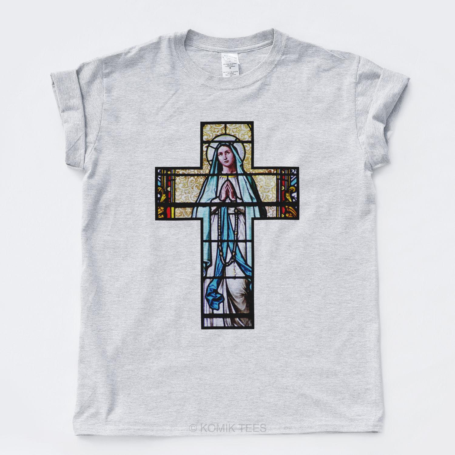 CRUCIFIX MARY T SHIRT Rome Vintage Church Saints Goth Indie Jesus Hip Hop Rap TFunny free shipping Unisex Casual Tshirt