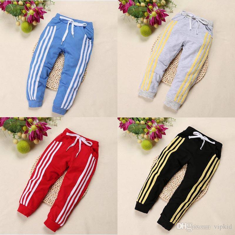 2019 Spring three bar brace stripe children sports pants boy girl pants 4 color Casual sport trousers For Birthday Gifts C21