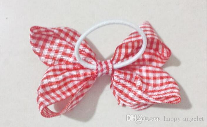 """Baby 3"""" gingham plaid hair bows clips hair ties accessories girl Princess ABC hairbows headwear hair elastic bobbles HD3550"""