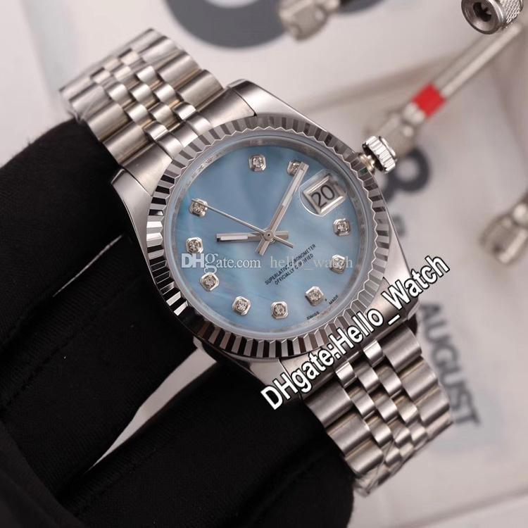 Nouveau 36mm M126334-0020 126334 LCE Blue Shell Diamant Diamant Automatique Homme Montre Bracelet en acier inoxydable Unisexe Womens Montres Hello_Watch