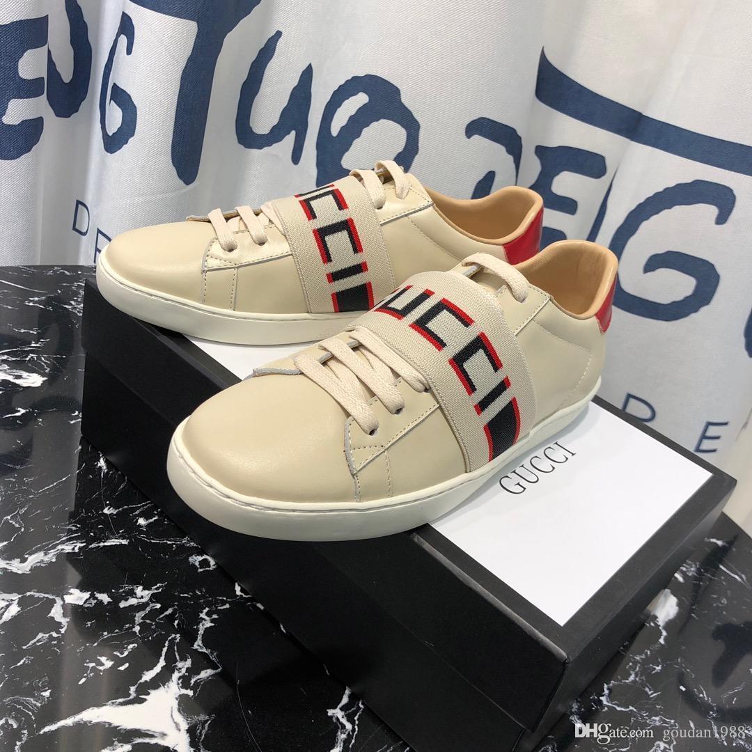 8db29dce8de0 2019 65with Box Men Women Mens Womens Genuine Leather Shoes ...