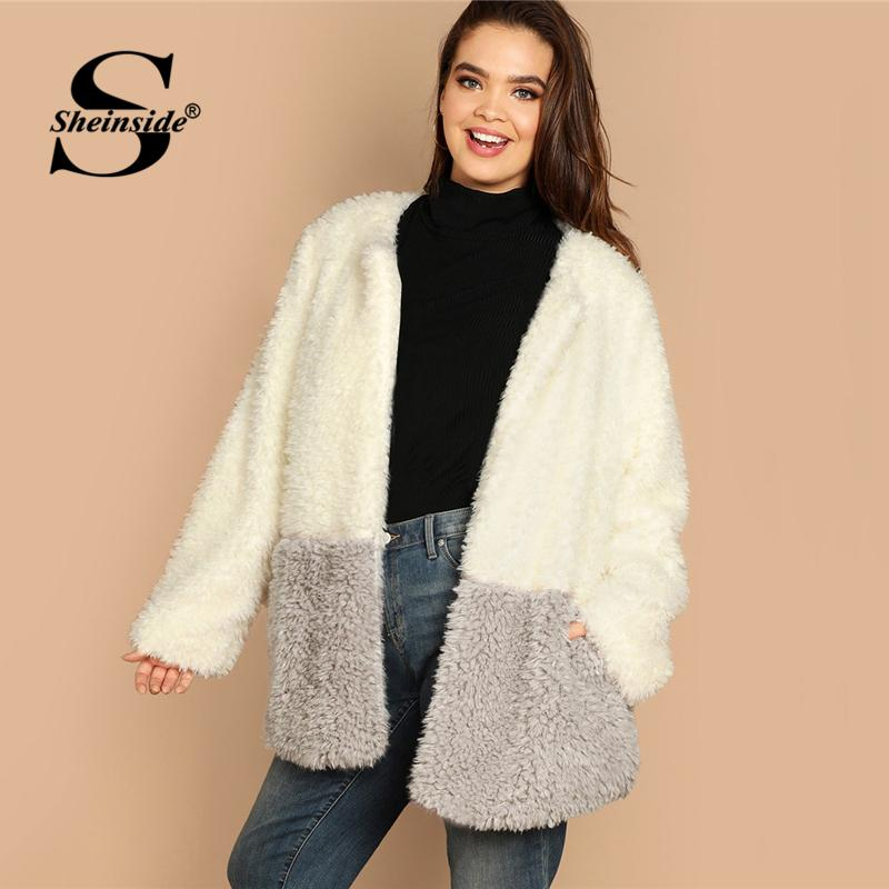 2ae98fd850 Sheinside Open Front Solid Faux Fur Teddy Coat Women Winter Clothes 2018  Thick Warm Outerwear Womens Splicing Jackets And Coats Jacket Sale Biker  Leather ...