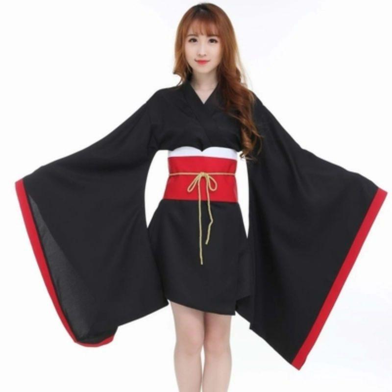 1ad20d36d Compre Mujeres Japonés Tradicional Kimono Negro Cosplay Anime Miku Traje  Cos Hatstune Miku Disfraces Negro Kimono Rojo Cos Anime Ropa A  48.09 Del  Weikelai ...