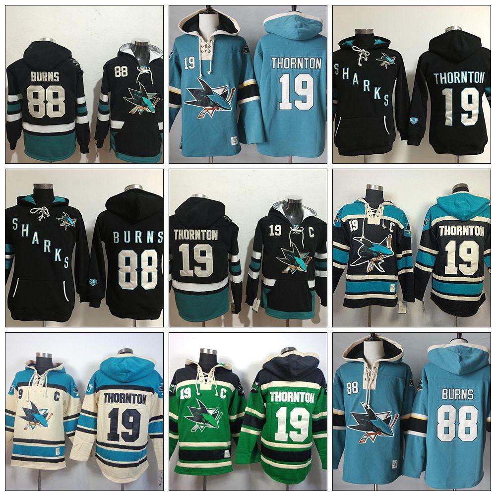 super popular f1aef 85608 Cheap Mens San Jose Sharks sweatshirt 88 Brent Burns 19 Joe Thornton Beige  Black Blue Green Best Quality Embroidery Ice Hockey Hoodies