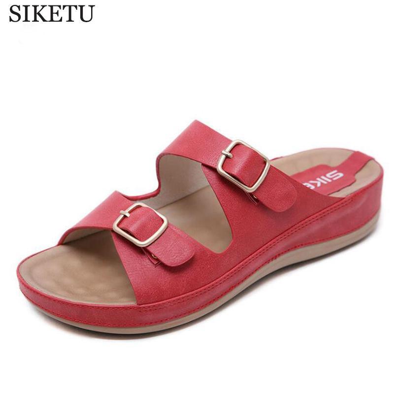 f8b1b48b64aad Summer Hot Sale Women Flip Flops Fashion Solid Color Metal Buckle Flat Heel  Sandals Outdoor Slipper Beach Shoes For Female C417 Happy Feet Slippers  Grey ...